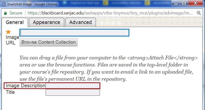 ALT text editor box