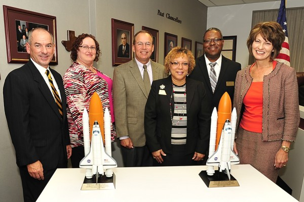 As a token of appreciation for collaborations with the College, United Space Alliance donated two space shuttle replicas, which will be displayed at the Central and South campuses. People attending the presentation include, from left: Van Wigginton, Central Campus provost; Dr. Mary Wisgirda, South Campus biology department chair; Scott Hartwig, United Space Alliance president; Dr. Brenda Jones, South Campus provost; Dr. Alexander Okwonna, South Campus health and natural science dean; and Chancellor Dr. Brenda Hellyer.