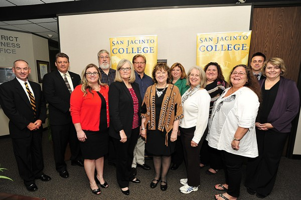 "The Texas Higher Education Coordinating Board recently audited San Jacinto College with positive results of ""no significant findings."" Members of the team that assisted with the audit include, from left (front row): Angela Perkins, business office supervisor; Dr. Wanda Munson, dean of enrollment management and college registrar; Dr. Laurel Williamson, associate vice chancellor and president; Dr. Catherine O'Brien, associate vice chancellor for learning; and Carla Fearnley, college bursar; (back row): Van Wigginton, Central Campus provost; Kevin McKisson, Central Campus dean of enrollment services; Bill Dickerson, director of accounting and financial services; Wayne Wauters, employment director; Shanna Dement, director of compensation and human resources information services; Kathy Edwards, Banner Student System Services coordinator; Rob Stanicic, chief information officer; and Joan Rondot, associate college registrar. Team members not pictured include Chancellor Dr. Brenda Hellyer; Joanna Zimmermann, vice president of student services; Robert Merino, dean of financial aid; and Denise Davidson, enrollment services specialist."