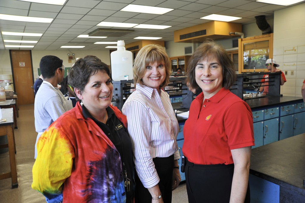 Adults providing supervision for the EnergyVenture Summer Camp activities at San Jacinto College Central include, from left, Autumn Maddox, camp instructor; Linda Drobnich, who works for the College's Continuing and Professional Development division; and Terri Drabik-O'Reilley, workforce development representative for Shell, a corporate sponsor for the summer camp.