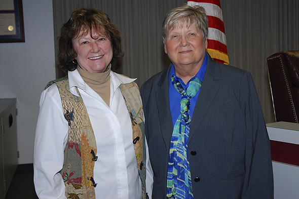 Dr. Karen Hattaway, right, is shown with Dr. Laurel Williamson, deputy chancellor and president of San Jacinto College, who describes Hattaway as a faculty leader who takes on difficult challenges.