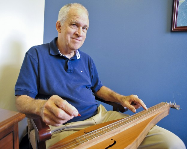James Fowler, who plays dulcimer as a hobby, will retire from San Jacinto College after 41 years of service as a faculty member and administrator.