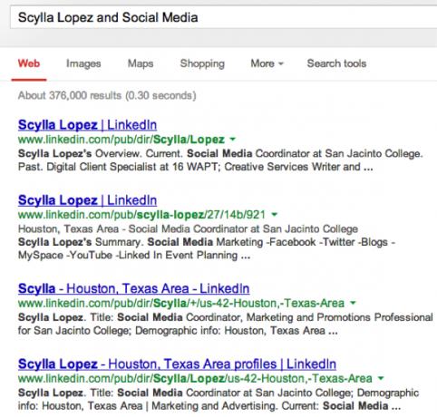 LinkedIn search results