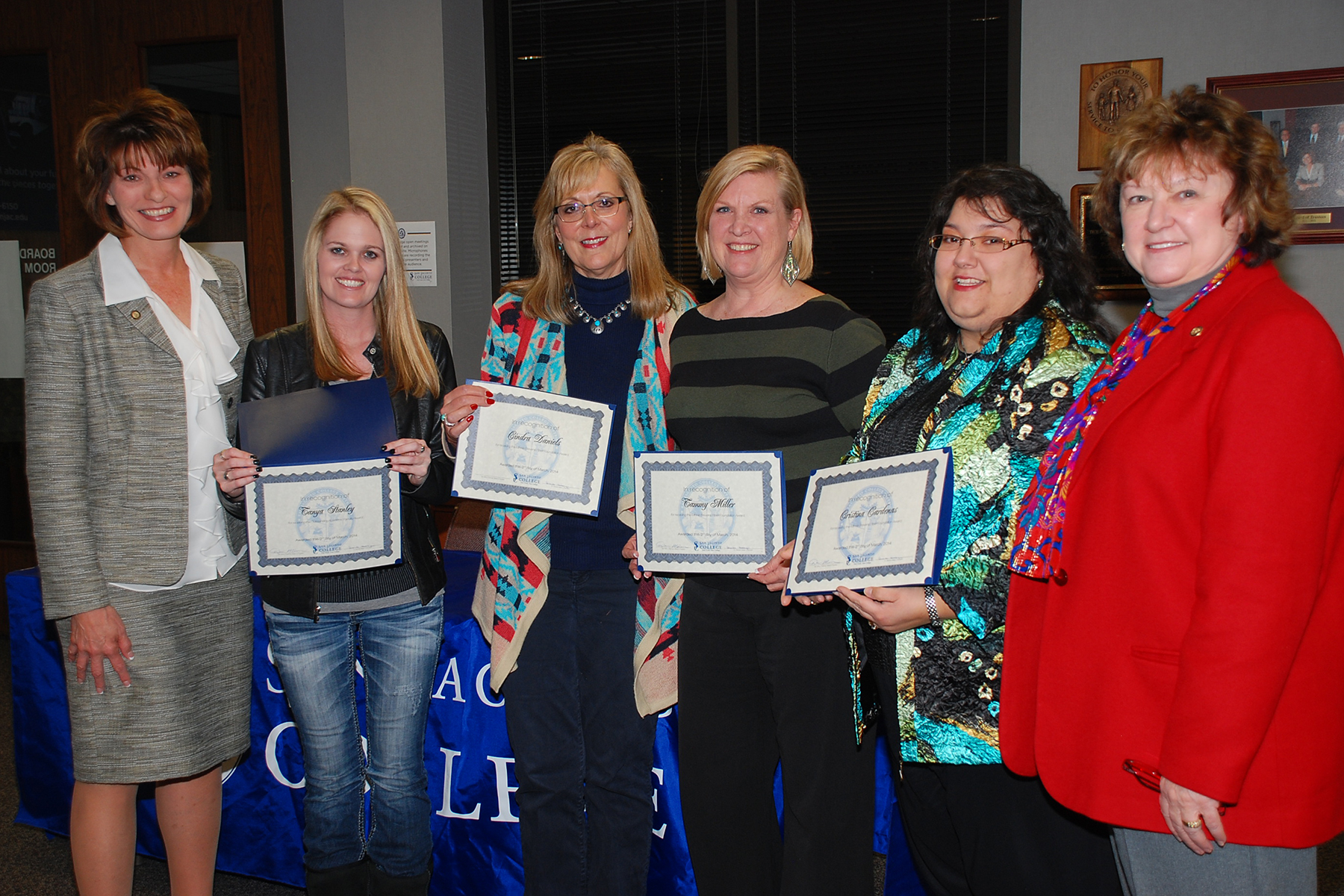 Dr. Brenda Hellyer (left) recognized Tanya Stanley as the Central Campus outstanding faculty member, along with Cindra Daniels, Tammy Miller, and Cristina Cardenas as the College's Minnie Stevens Piper Professor nominees. Pictured with them is Deputy Chancellor and College President, Dr. Laurel Williamson.
