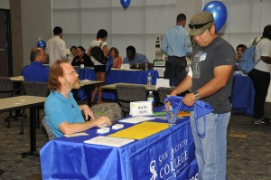 Dr. J.P. Anderson, along with other San Jacinto College South faculty members, participated in a recent resource fair during a New Student Orientation.