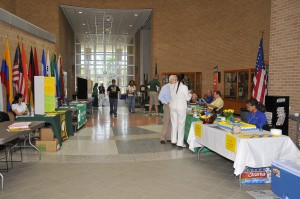 Each New Student Orientation includes a resource fair, as pictured in this photo of the North campus, where students pick up information on various San Jacinto College programs.