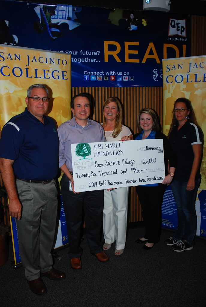 The Albemarle Foundation donated $26,000 to the San Jacinto College Foundation in support of student scholarships.