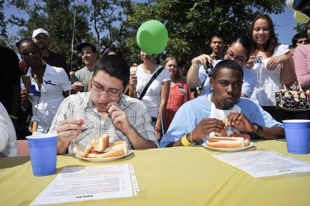 One of the highlights of the 6000-Plus event was a hot dog eating contest.