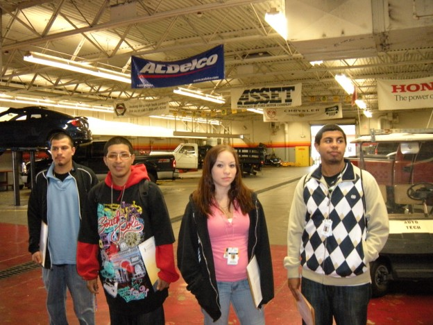 Students from Aldine Crossroads recently toured the Auto Body Building at the Central campus as part of a student recruitment event.