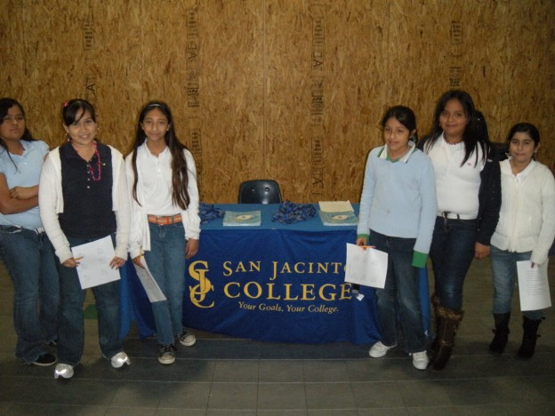 Fifth-graders from DeZavala Middle School in Channelview learn about San Jacinto College at Career Day, a student recruitment effort.