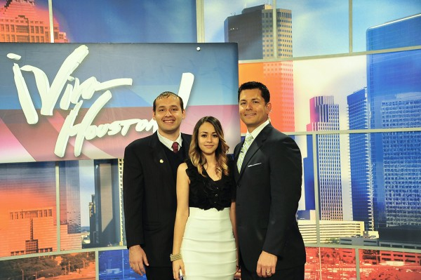 Kevin Castillo and Vanessa Gonzalez are shown on the Viva Houston set with host Erik Barajas, who also attended San Jacinto College.
