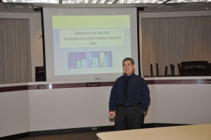"""George González, director of research and institutional effectiveness at San Jacinto College, presented """"The Odyssey of Implementing an Institutional Information System (IIS) at San Jacinto College"""" during the recent GCAIR meeting."""